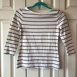 Merona White & Black Striped Boatneck 3/4 Sleeve